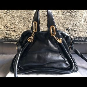 CHLOE Black Leather Medium Paraty 2-Way Bag